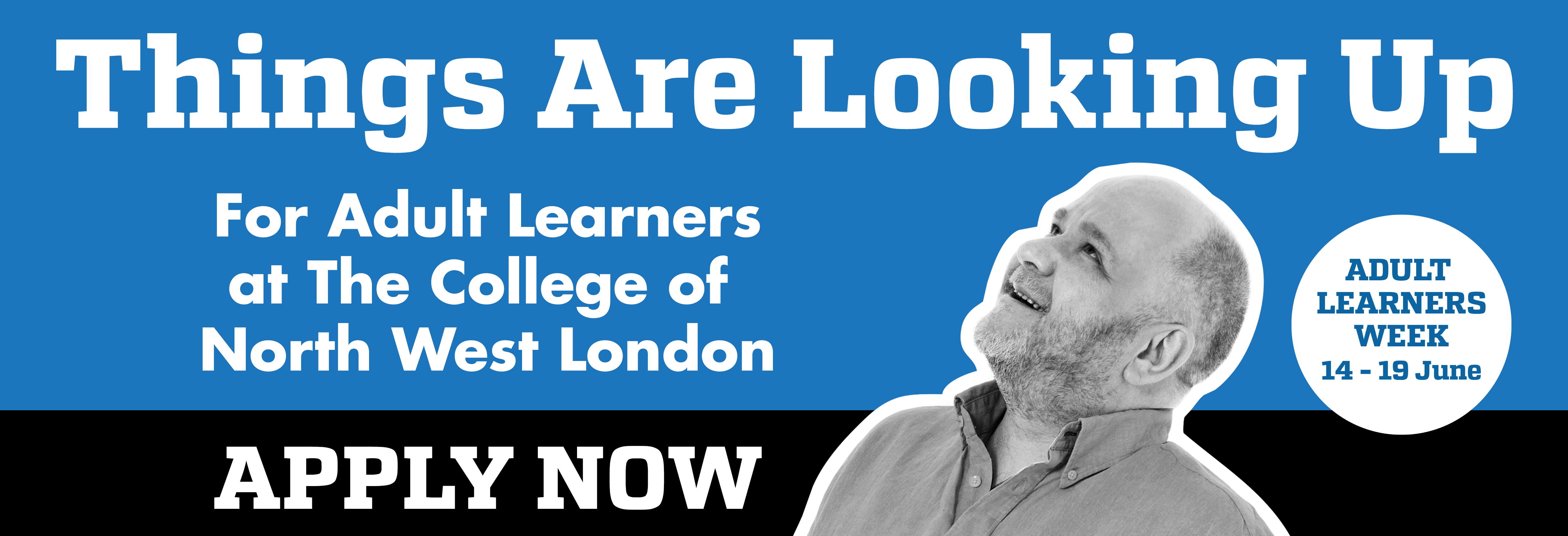 Adult Week Website banner with student looking up telling visitors to Apply Now